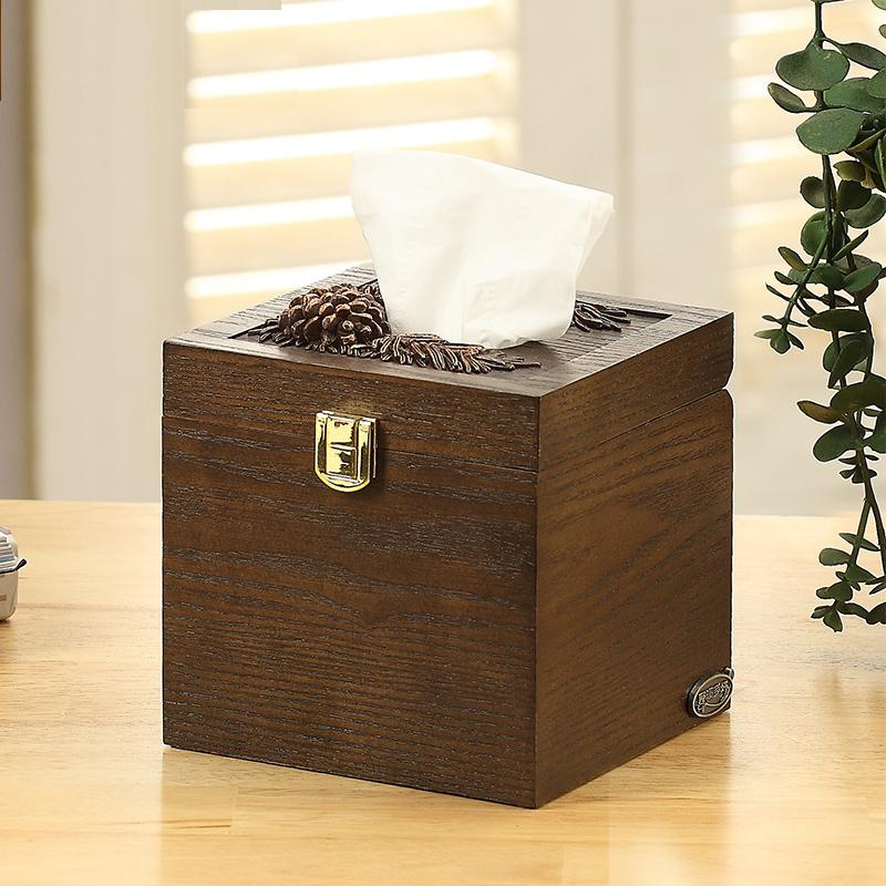 European Style Multi-functional Tissue Box Creative Simple Cute Paper Extraction Box Living Room Home Chart Drum Desktop Wooden