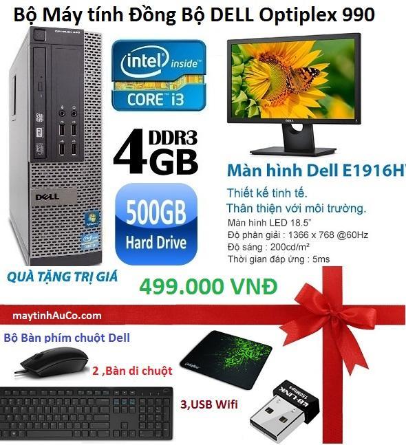 Bộ Máy Tính để bàn Đồng Bộ Dell Opiplex 990 (core I3 /4G/500G) Và  Màn Hình Dell 18.5inch Wide Led , Tặng Bàn phím chuột Dell , USB wifi , bàn di chuột    - Hàng Nhập Khẩu