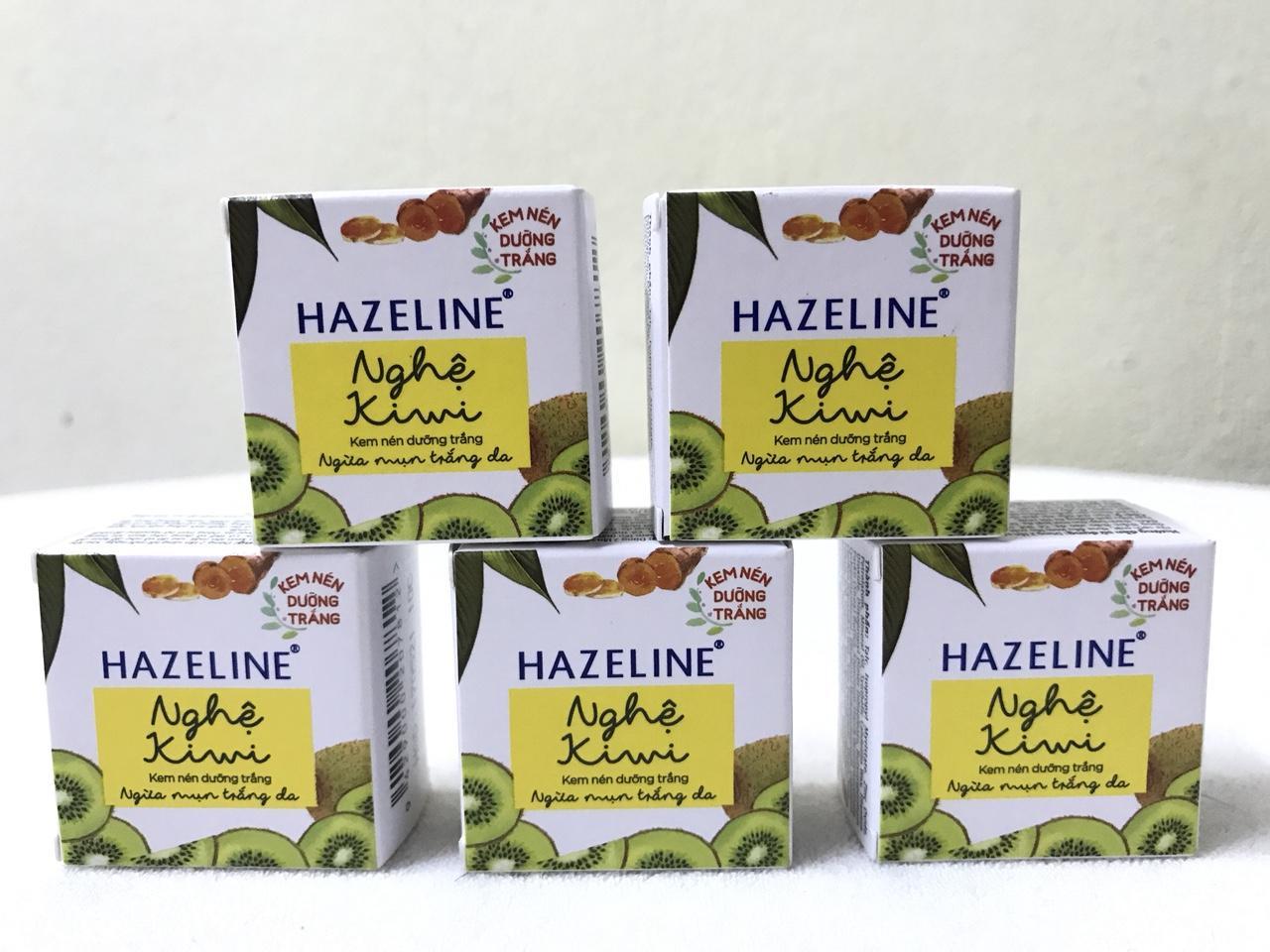 Hình ảnh combo 5 hộp kem nén hazeline ngừa mụn dưỡng trắng 3g/hộp + Tặng 1 túi đựng mỹ phẩm