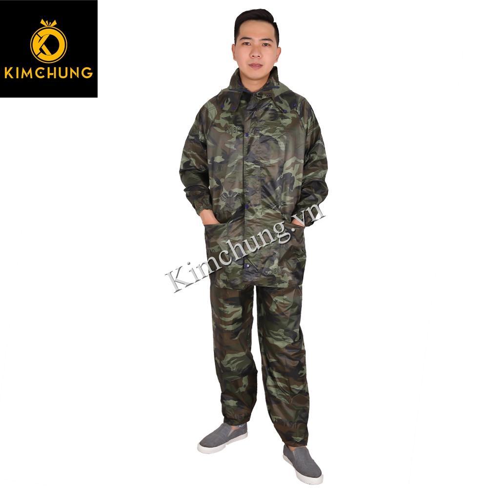 Đồ bảo hộ lao động, áo mưa bộ vải dù cao cấp siêu bền, không thấm nước (màu rằn ri, size 3XL)