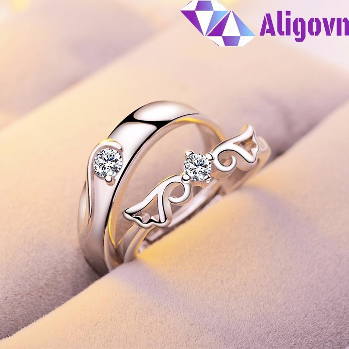 Hình ảnh Nhẫn đôi Love tình yêu đính đá Zircon Free Size thời trang Hàn Quốc - ALIGOVN