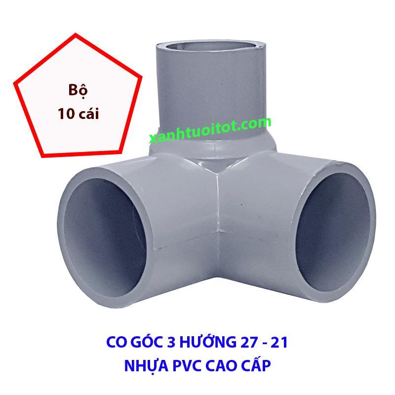 Hình ảnh Co góc 3 hướng phi 27 - 21 nhựa PVC màu xám
