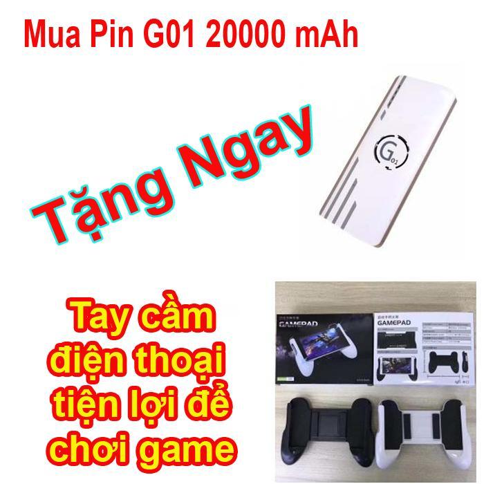 Hình ảnh Pin sạc dự phòng G01 Litinum 20000MAH (Trắng) - hổ trợ sạc nhanh + Tay cầm điện thoại chơi game tiện lợi.