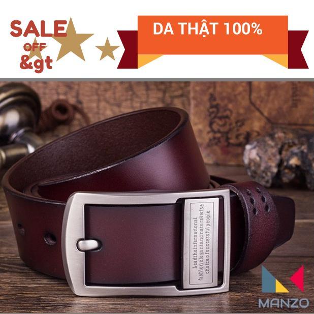 Hình ảnh Thắt lưng nam, dây nịt nam da bò THẬT 100% khóa kim chữ cao cấp Manzo 101, Bảo hành 1 năm