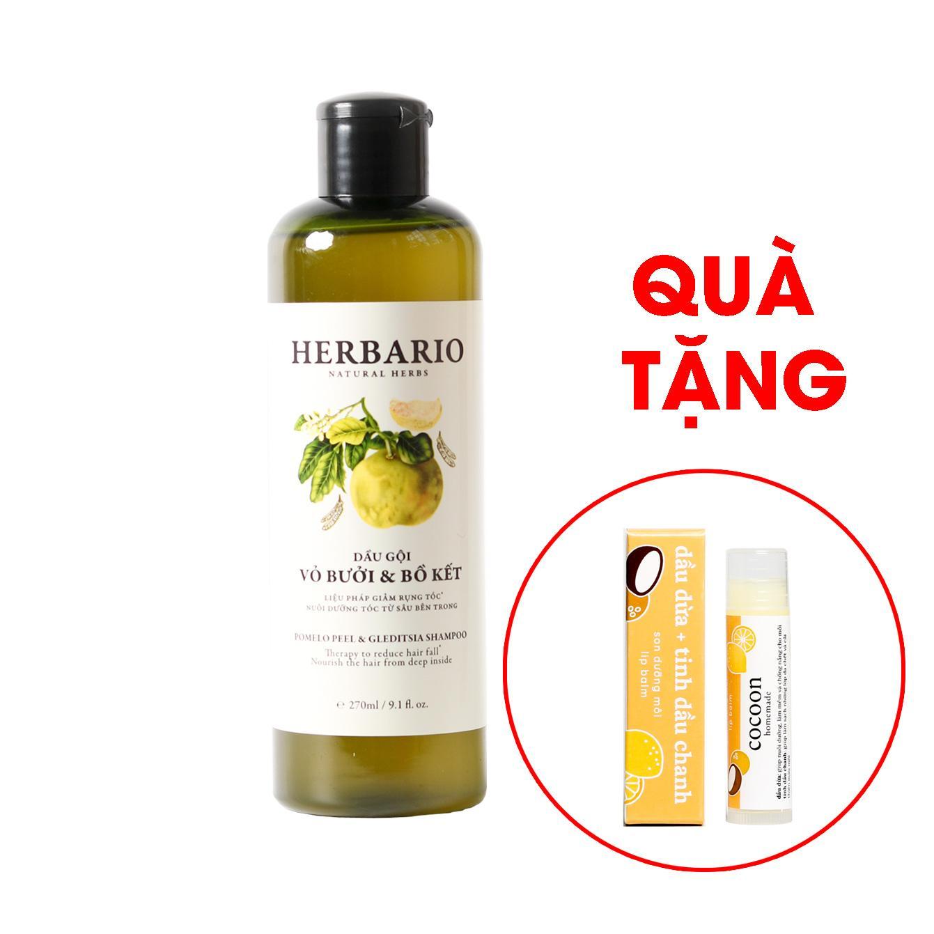 Hình ảnh Dầu gội Bưởi & Bồ Kết Herbario 270ml tặng cây son Lip Balm