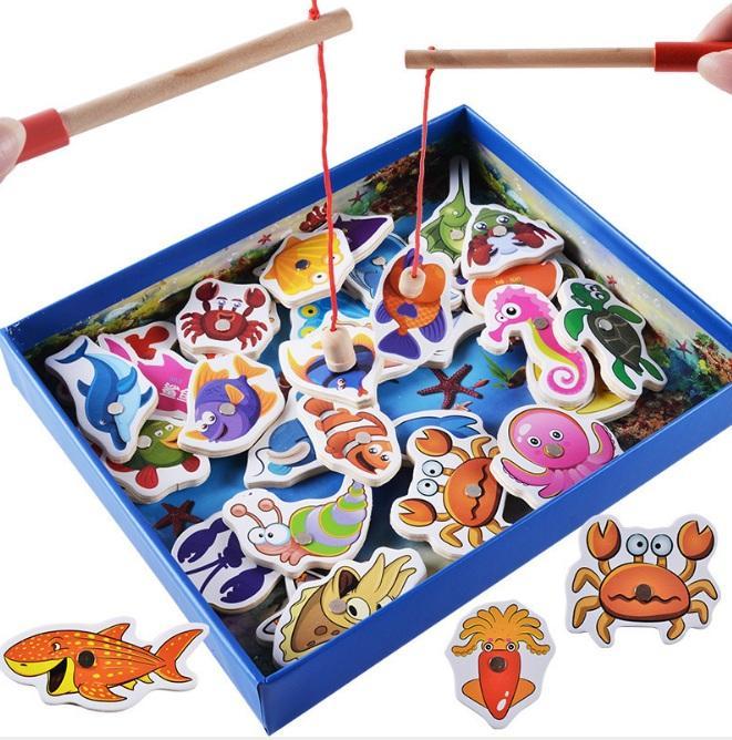 Hình ảnh Bộ đồ chơi câu cá nam châm bằng gỗ 32 chi tiết
