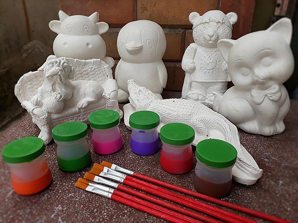 Hình ảnh [ Size lớn] Bộ tô tượng cho bé (2 tượng lớn + 6 màu + cọ vẽ + Khay màu)