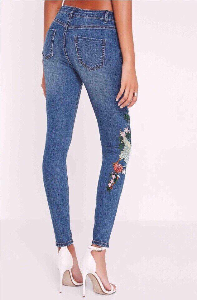 Bán Mua Quần Jeans Nữ Theu Chim Lưng Cao Co Dan Đẹp Store 257