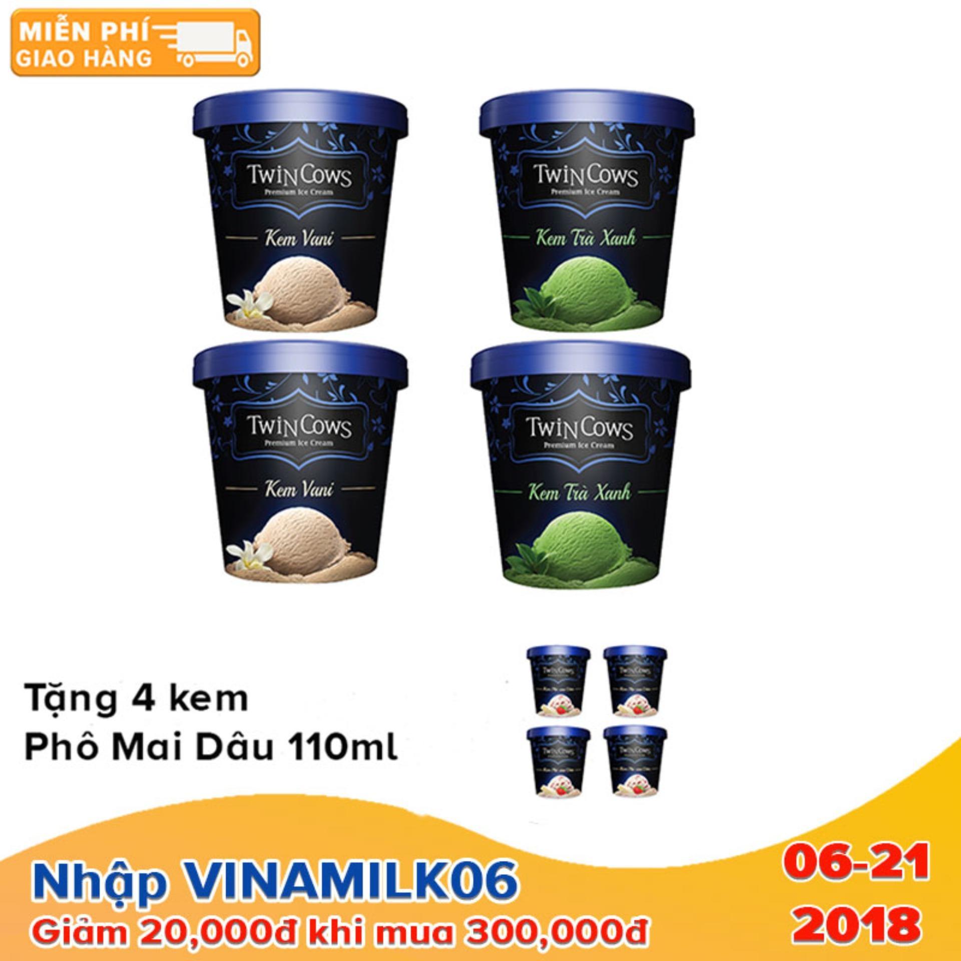 Bộ 4 hộp kem Twincows 450ml các vị Trà Xanh + Vani - Tặng 4 hộp kem Twincows phô mai dâu ly 100ml