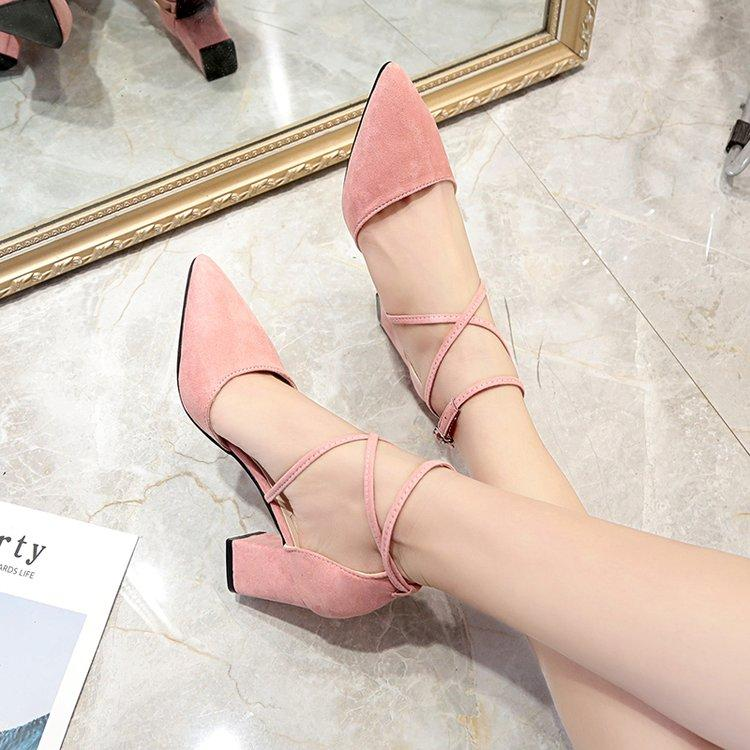 2019 Spring New Style Korean Style Pointed Shallow Mouth Block Heel High  Heels Suede Versatile Shoes 0dd1796266