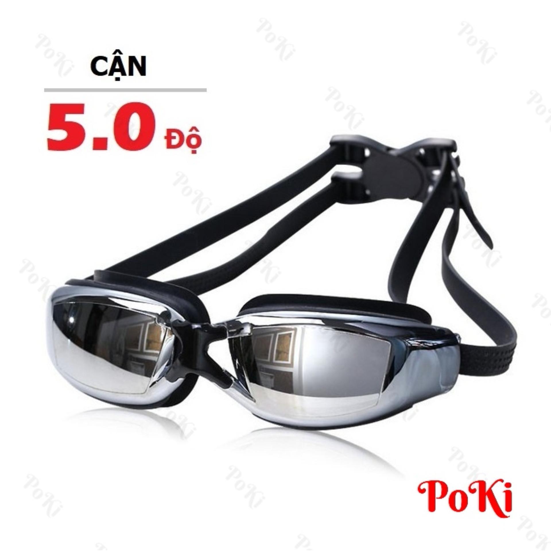 Hình ảnh Kính bơi CẬN 5.0 độ, tráng GƯƠNG, chống UV, chống HẤP HƠI, kính thời trang cao cấp 2588 - POKI