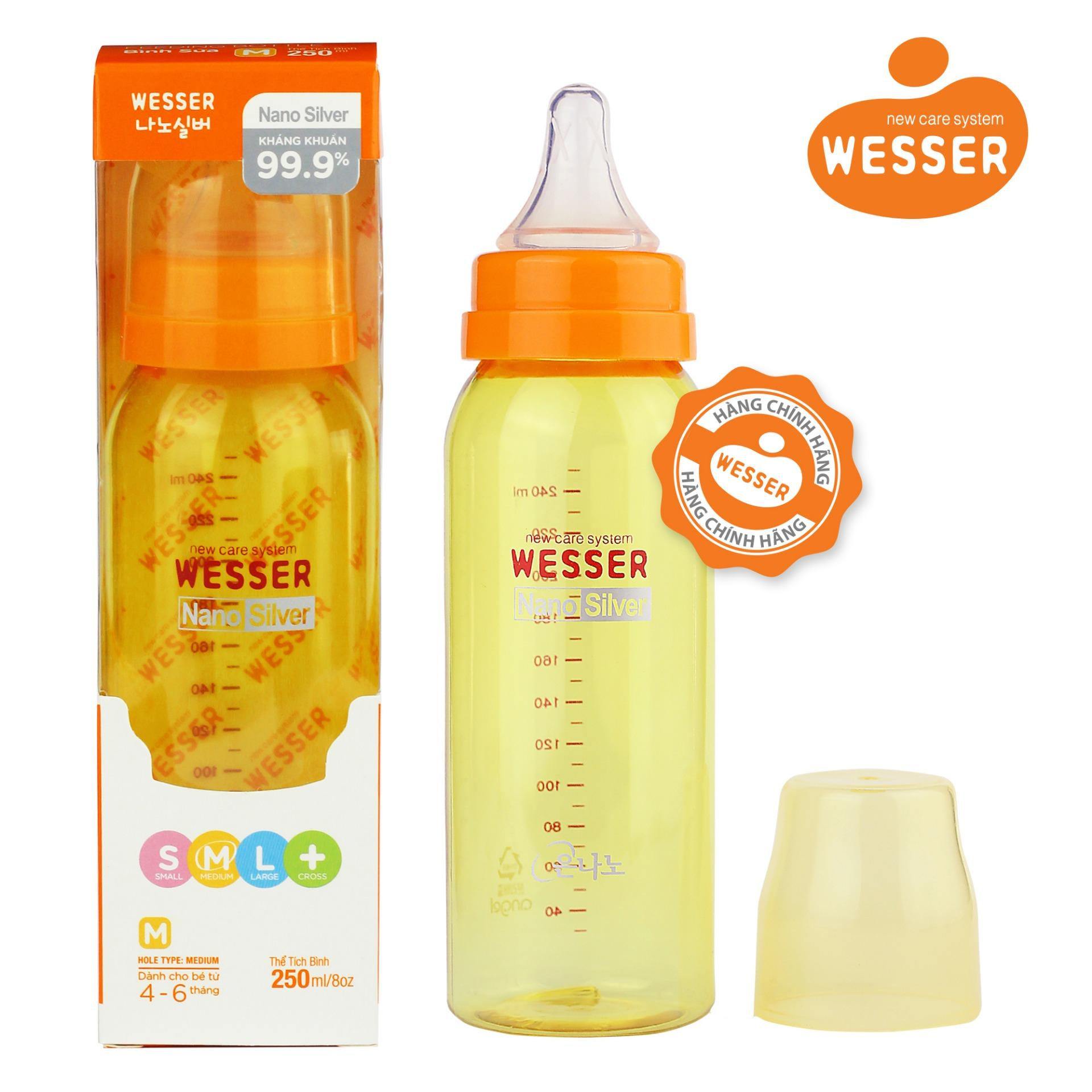 Mua Binh Sữa Wesser Nano Silver Cổ Hẹp 250Ml Mau Vang Wesser Nguyên