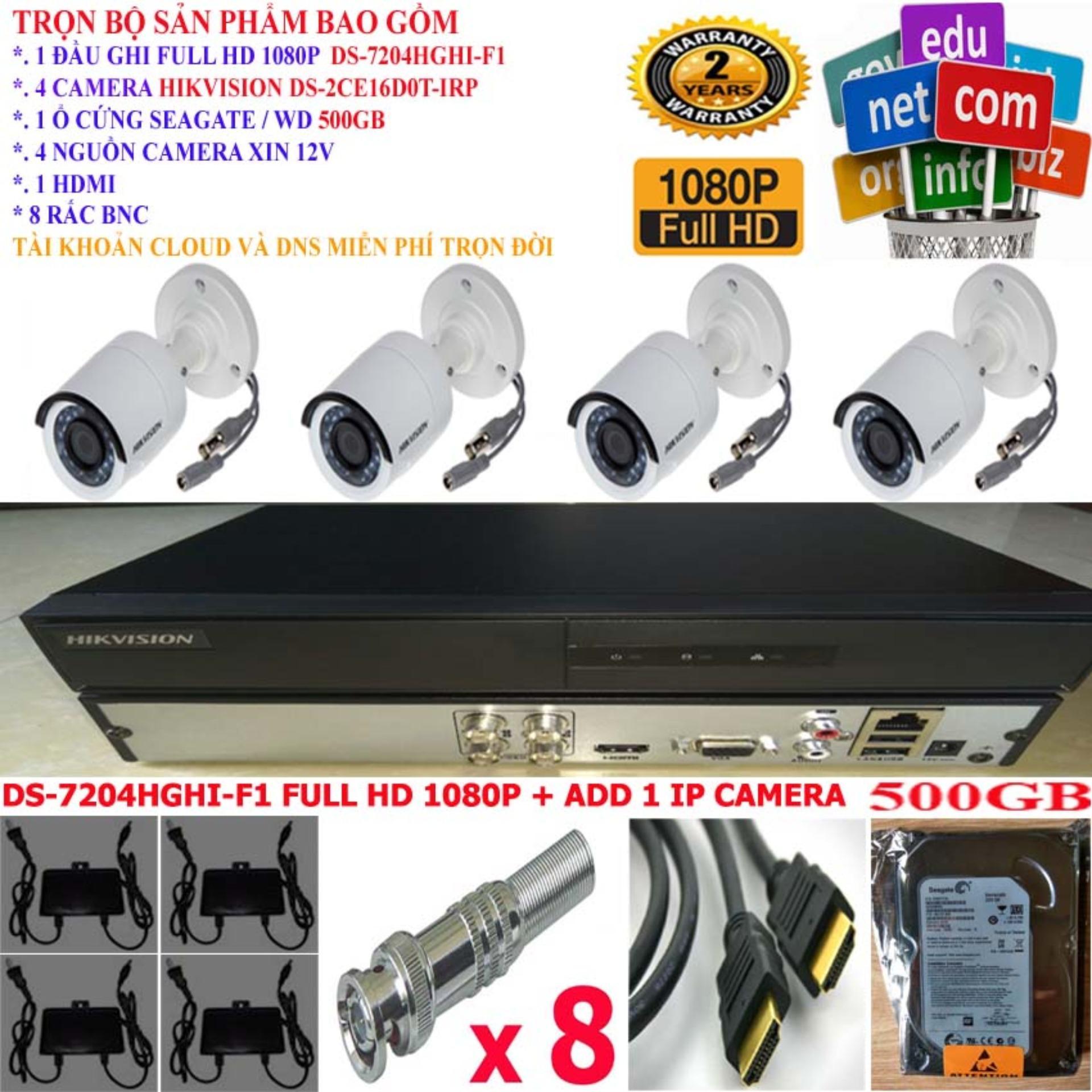 Hình ảnh Trọn bộ 1 đầu ghi hình Camera 4 KÊNH FULL HD 1080P cao cấp Hikvision DS-7204HGHI-F1 + 2 Camera FULL HD 1080P DS-2CE16D0T-IRP + 1 ổ cứng Seagate /WD 500GB + 2 Nguồn nhện xịn 12V + 4 Rắc BNC + 1 dây HDMI
