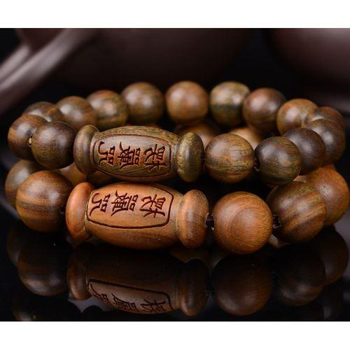 Open green Tan beads Shurangan Mantra Bracelets Lovers Sandalwood Bracelets Ms. Bracelets Ornaments Evil body - intl