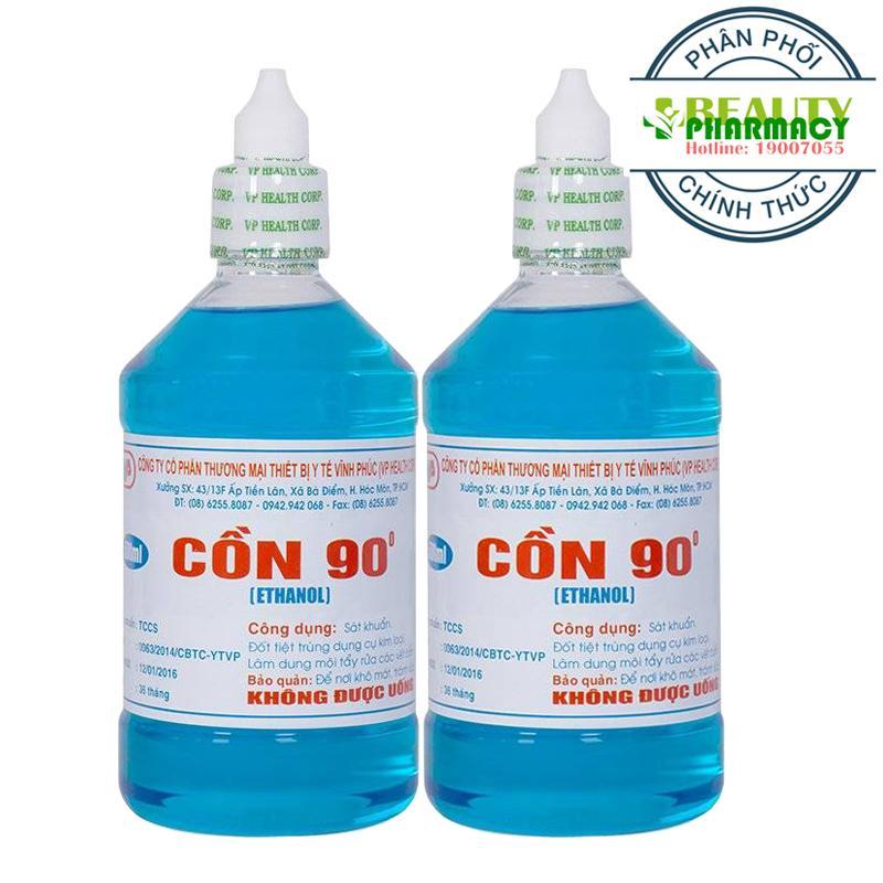 Hình ảnh 2 Chai Cồn y tế 90 độ Xanh VĨNH PHÚC (500ml/Chai)