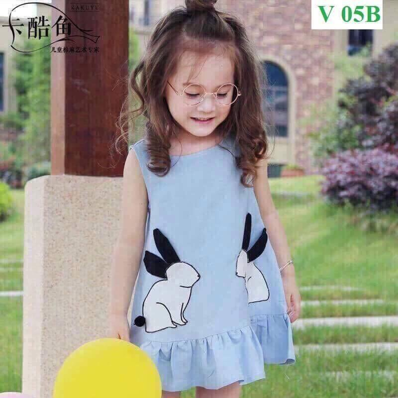 Hình ảnh Váy dáng xoè hoạ tiết hình thỏ - vải cotton co dãn 4 chiều - dáng tiểu thư cực xinh cho bé gái (Hàng bán shop và siêu thị)