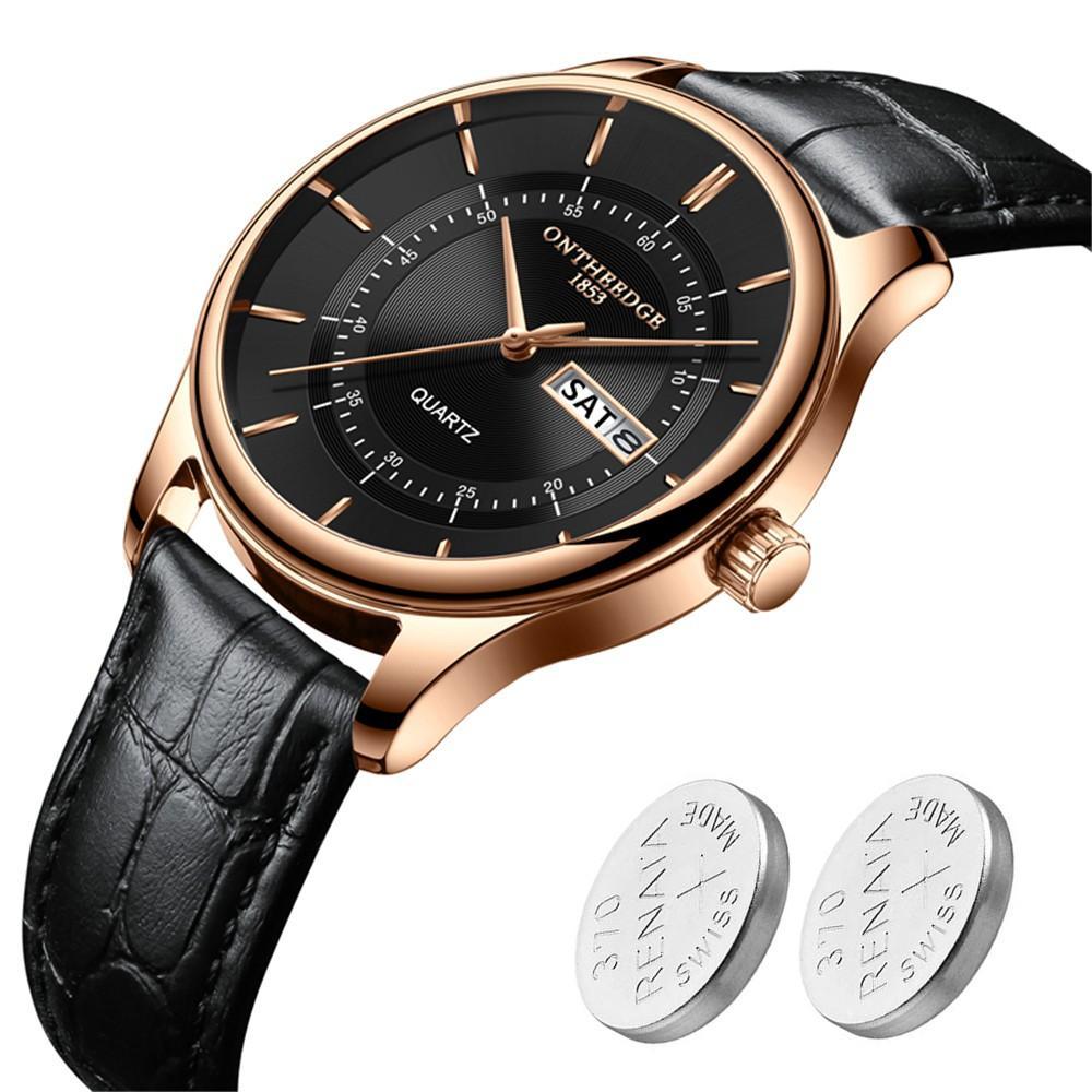 Đồng hồ nam Ontheedge R08 full box có lịch thứ ngày dây da cao cấp + Tặng 2 viên pin Nhật