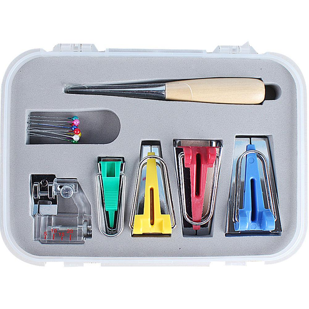 LumiParty Bias Tape Maker Kit Set for DIY Sewing Quilting Awl and Binder Foot Case Tools
