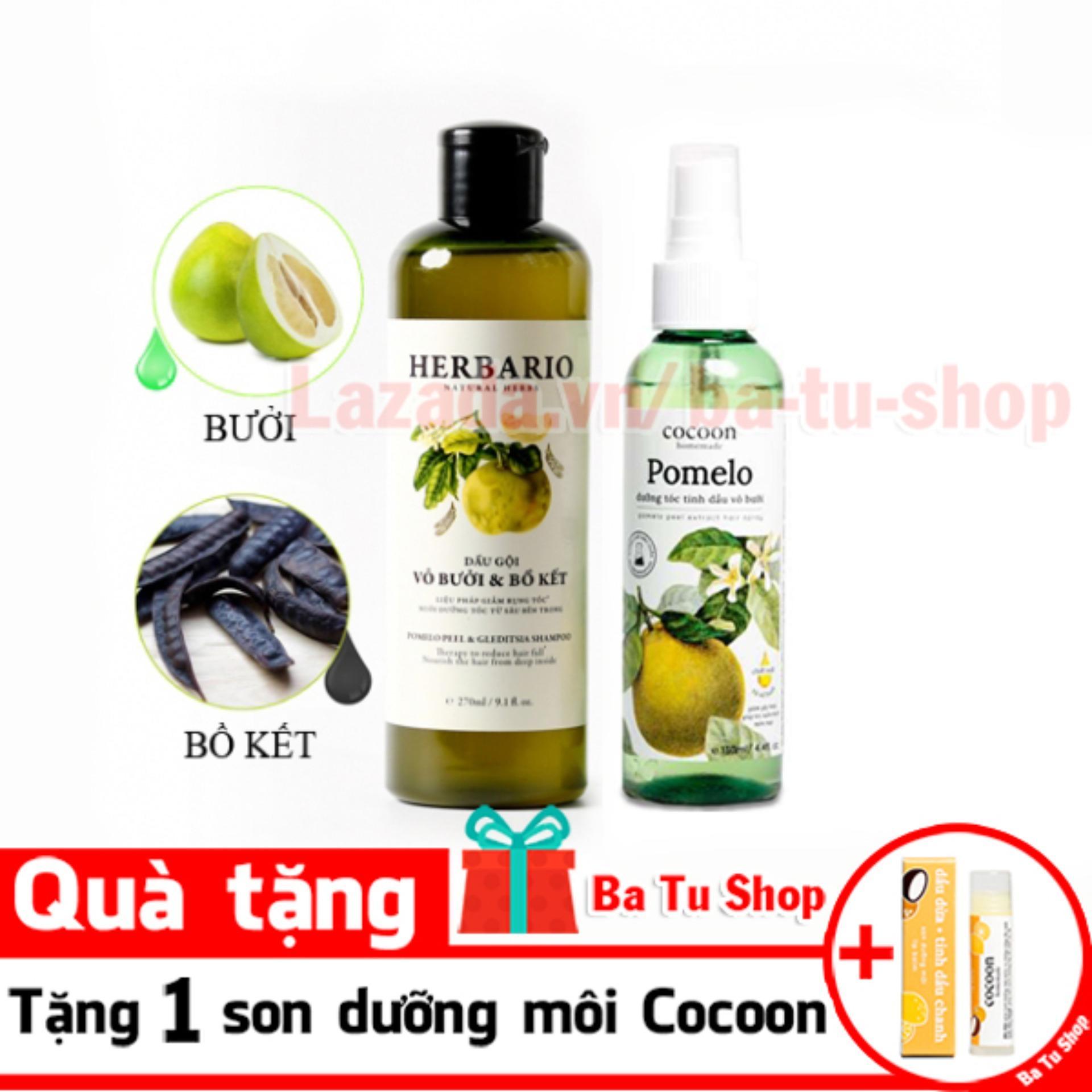 Hình ảnh Bộ trị rụng tóc dầu gội vỏ bưởi Herbario và Dưỡng tóc Pomelo tặng 1 son dưỡng Cocoon
