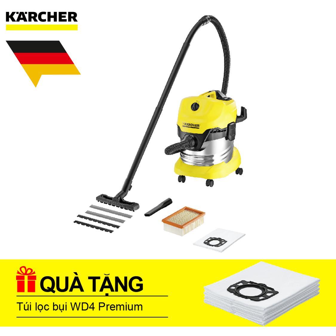 Máy hút bụi khô & ướt Karcher, WD 4 Premium + Tặng Túi lọc bụi WD4
