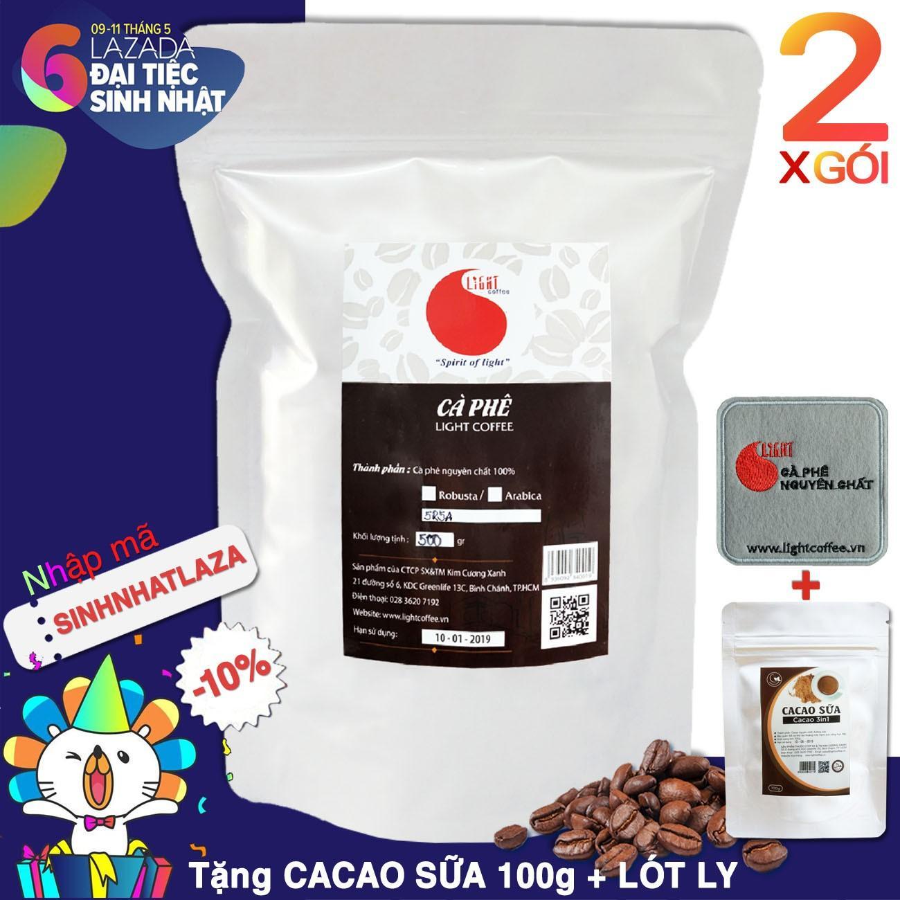 Chiết Khấu Sản Phẩm Cafe Hạt Rang Nguyen Chất 100 Phối Chuẩn Light Coffee 1Kg 2 Goi