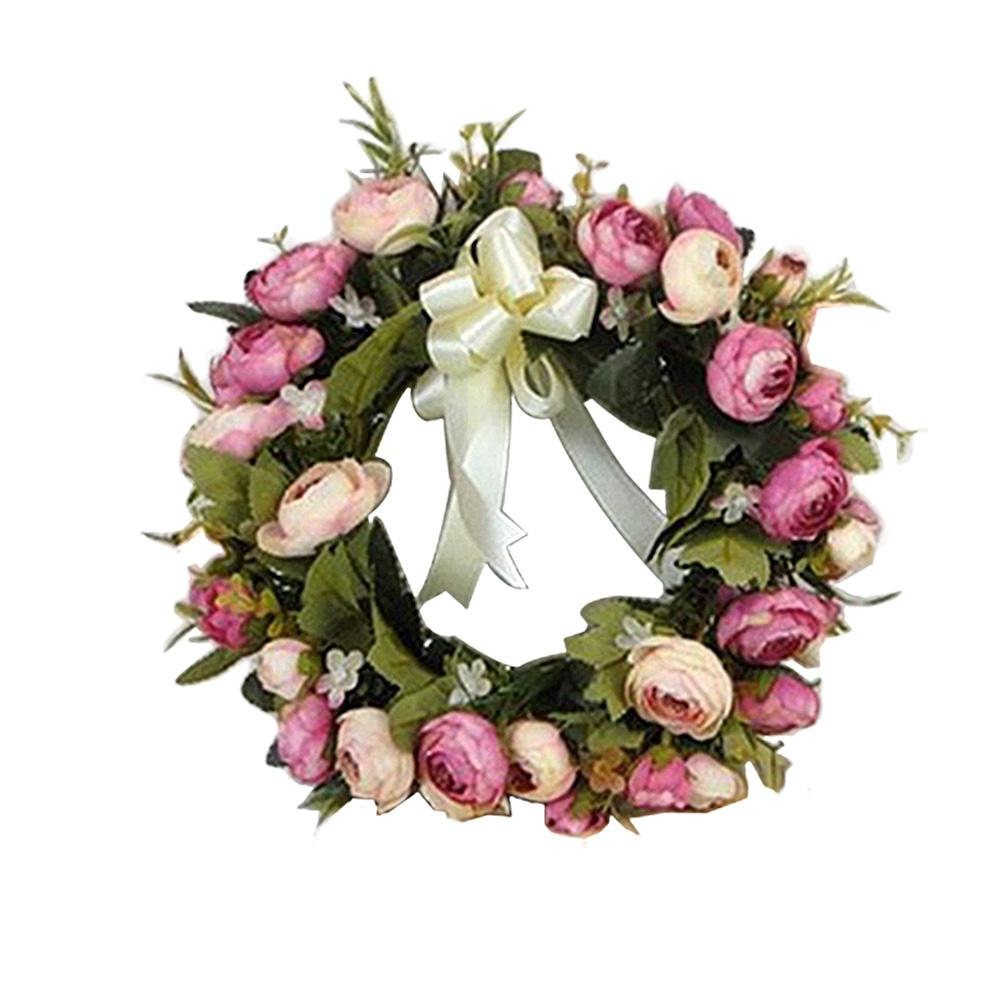 Supermall 28CM Simulate Cloth Rose Wreath Pretty Garland Floriation Hanging Pendant Decoration for Door Wall Wedding  Style:1pc
