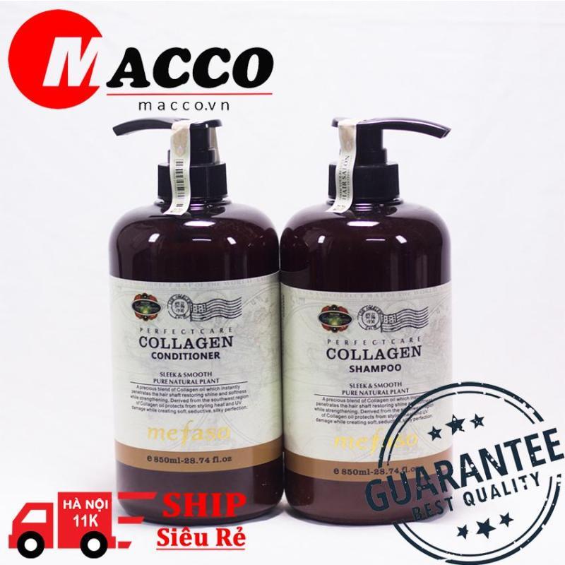 Cặp dầu gội xả Collagen Mefaso Italy ( 850ml x 2) siêu mềm mượt, phục hồi mái tóc hư tổn đến 99%
