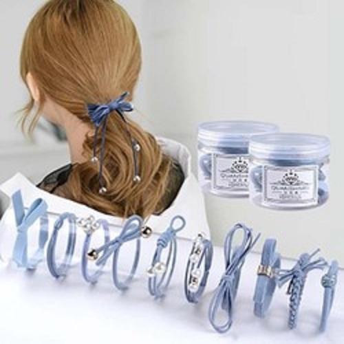 Hình ảnh Combo 2 Hộp dây buộc tóc,cột tóc kiểu hàn cao cấp có đính hạt (12 dây/ hộp)