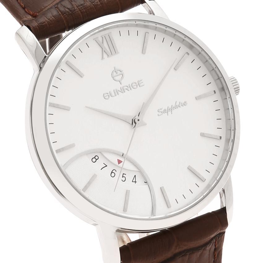 Đồng hồ nam siêu mỏng Sunrise DM783PWA Fullbox hãng kính Sapphire chống xước (Mặt trắng dây da nâu)