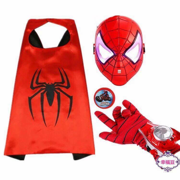 Hình ảnh Bộ áo choàng, mặt nạ, găng tay có đèn phát sáng người nhện cho bé