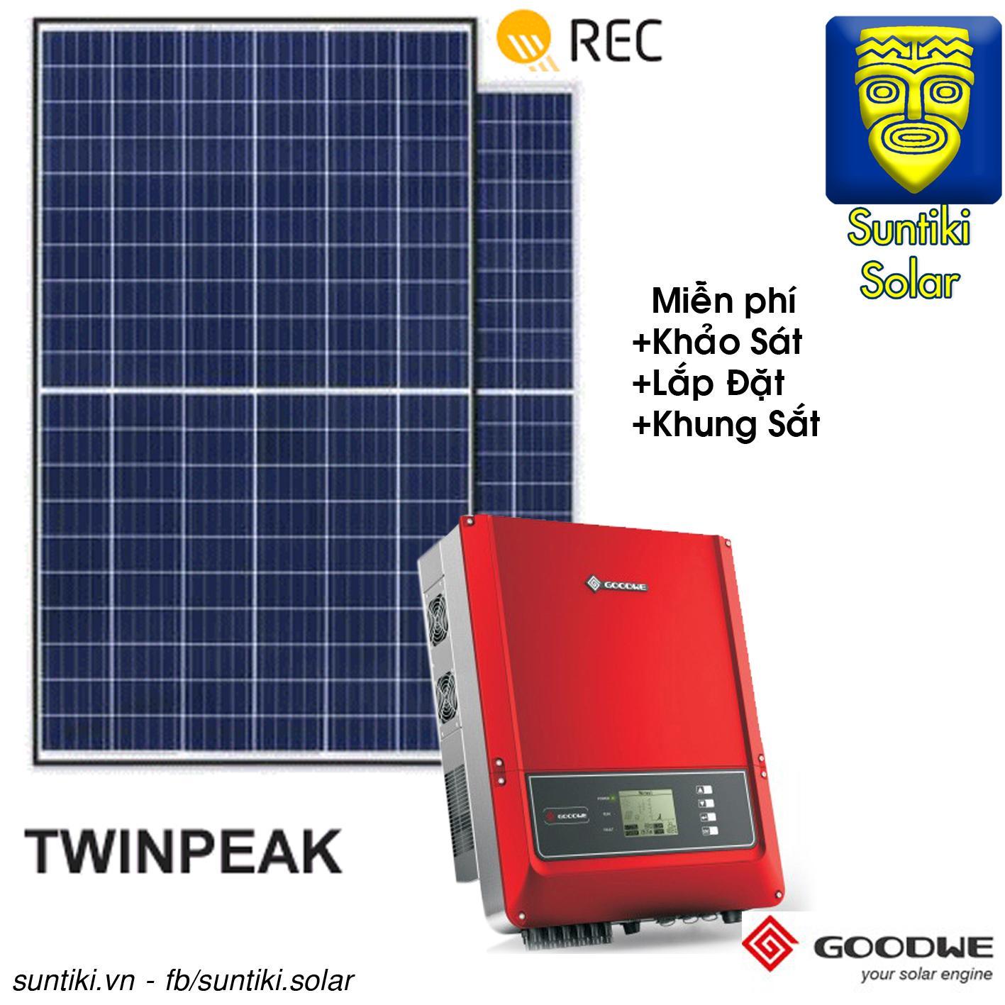 Combo Hệ thống điện năng lượng mặt trời - 6270W (22 tấm pin REC + Máy biến tần Goodwe)