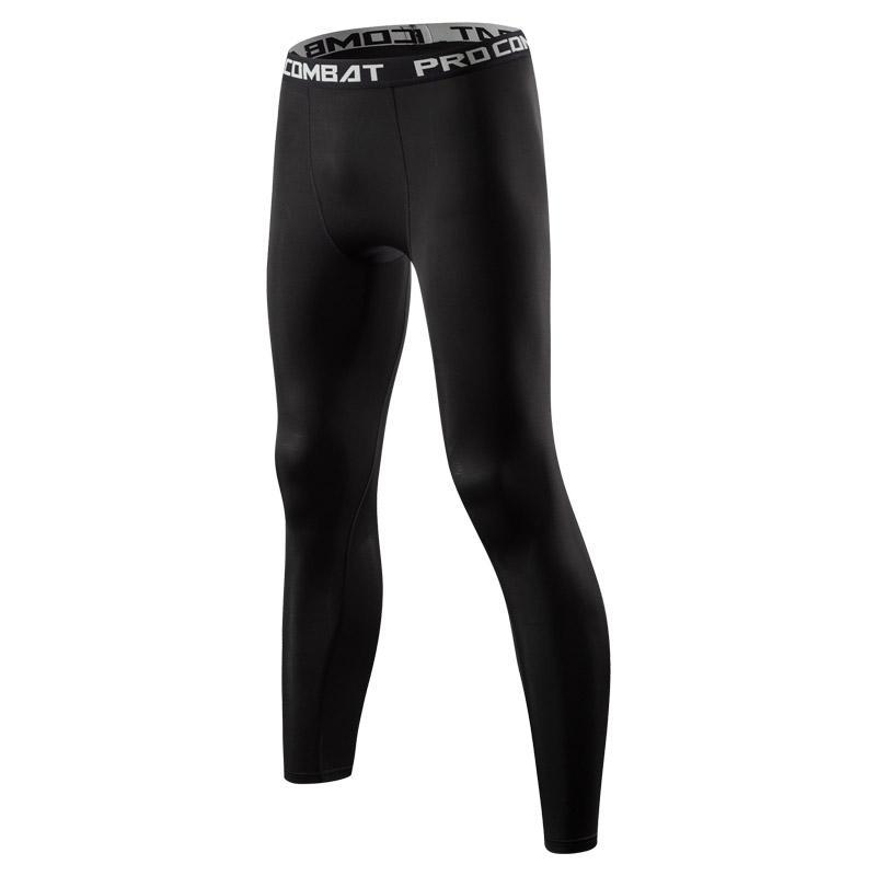 Celana Olahraga Pria Latihan Ketat Elastis Tinggi (Garis hitam celana panjang)