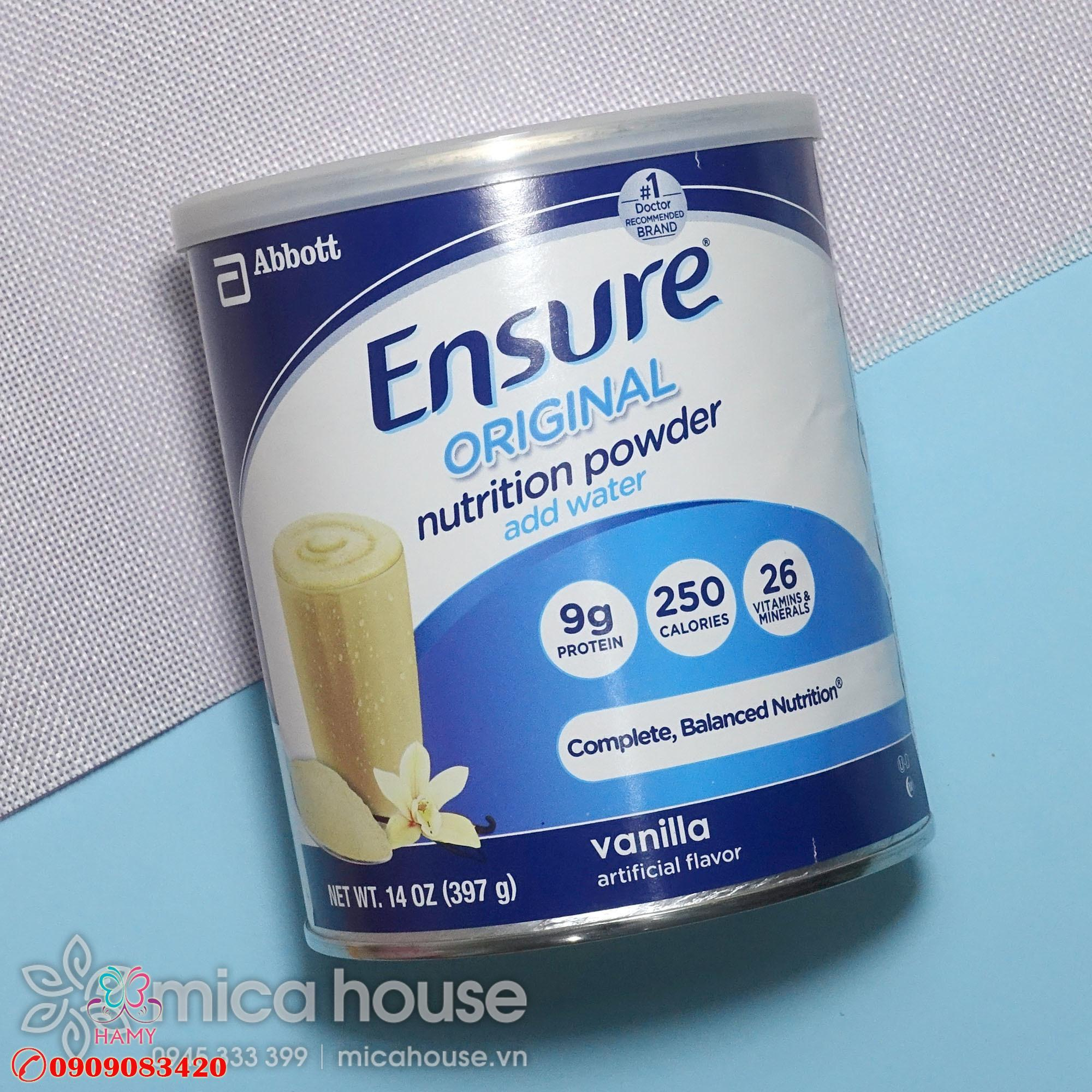Sữa bột Abbott Ensure của Mỹ – hộp 397g OEM – Review sản phẩm