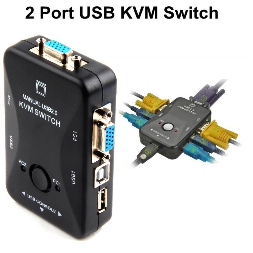 Hộp KVM cho phép 2 PC dùng chung monitor, hỗ trợ 3 cổng USB
