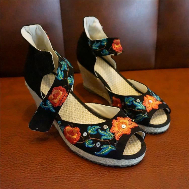 Pembungkus Surat 2016 Di Musim Panas Gaya Baru Clan Breeze Tua Peking Katun Sepatu Menyulam untuk Menghabiskan Sepatu pendakian Heel Anti Selip Ikan Mulut Sandal Wanita Daftar Sepatu-Internasional