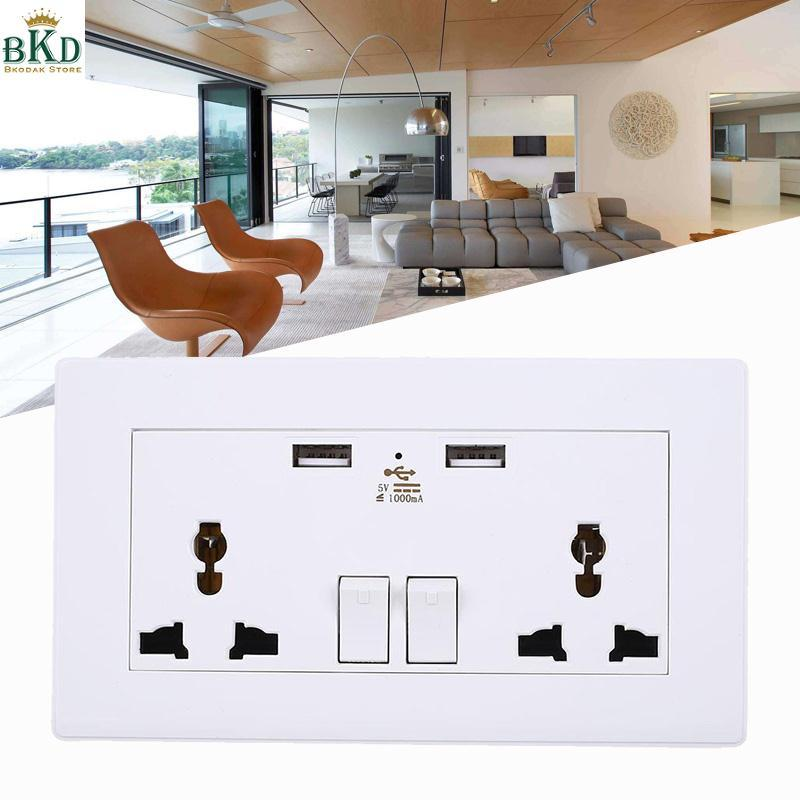Universal Wall Socket Dual USB Outlets Panel UK/US/EU/AU Plug For Hotel Home