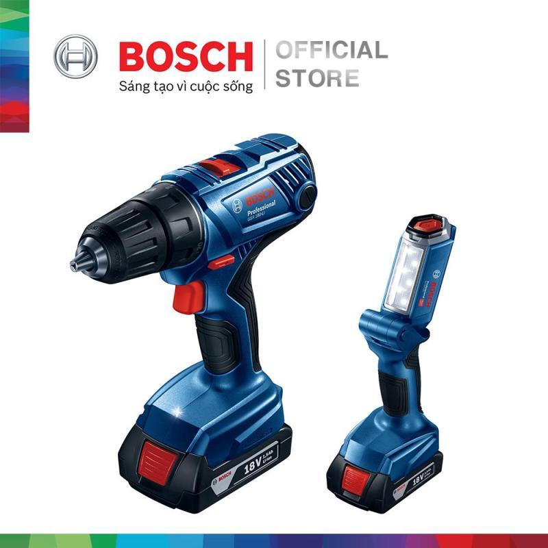 [Nhập BOSCH5 giảm 5%] Bộ combo Máy khoan vặn vít dùng pin Bosch GSR 180-LI - Tặng đèn pin GLI 180-LI (2 pin 1.5 Ah + 1 sạc)