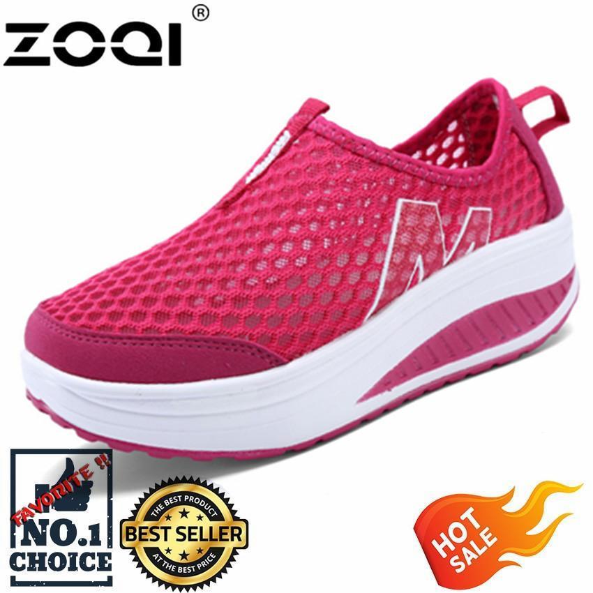 Zoqi Wanita Sneaker Fashion Olahraga Kasual Sepatu Nyaman Berventilasi  (Merah). 0747aa6a27