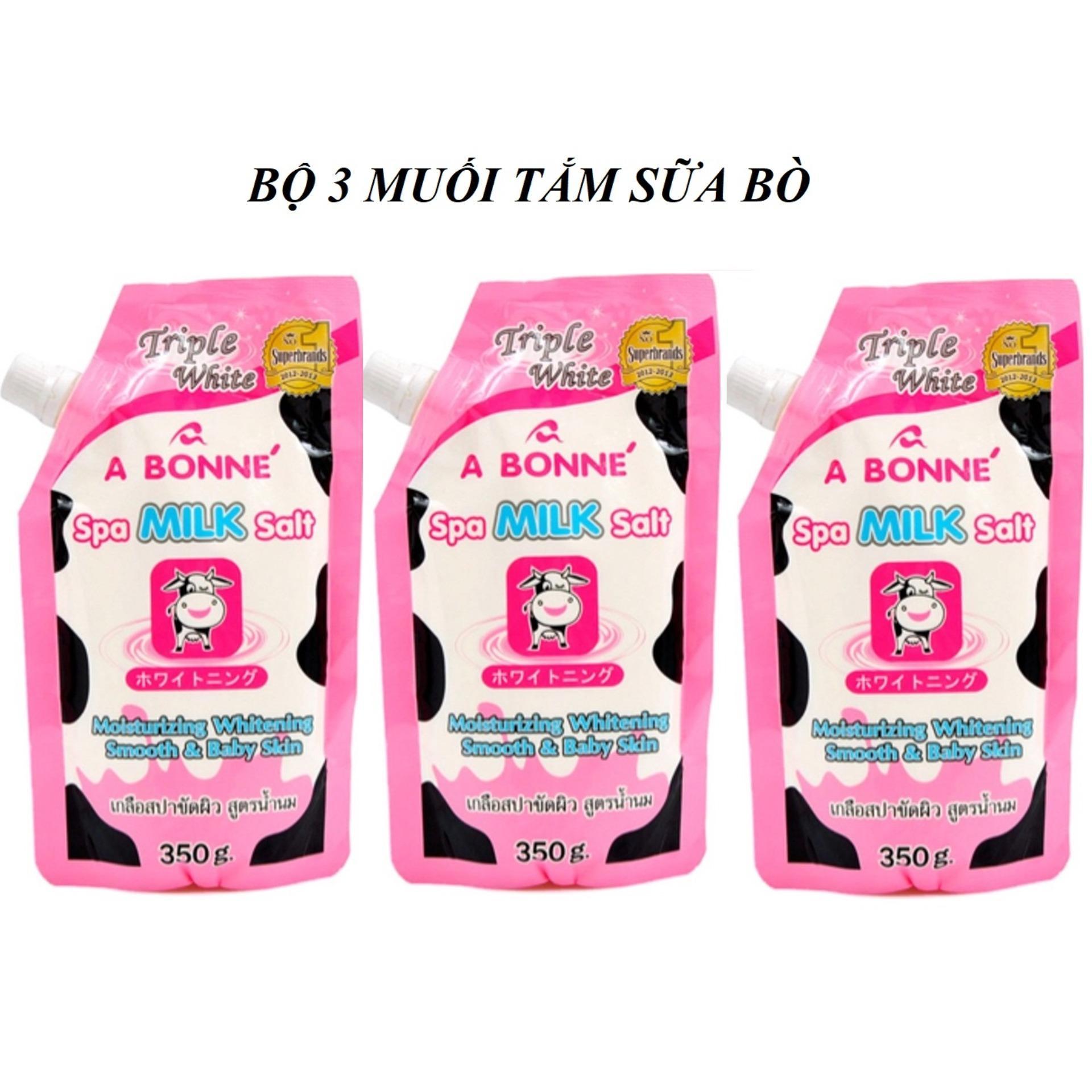 Hình ảnh Bộ 3 Muối Tắm Tẩy Tế Bào Chết Sữa Bò A Bonné Spa Milk Salt 350g