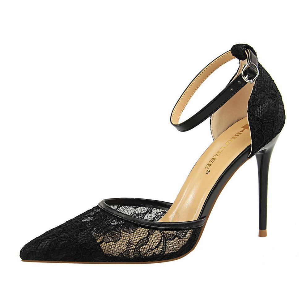 ✅Fashion Bertumit Sandal Bertali Tinggi Sepatu dengan Hak Pantofel Wanita Ujung Runcing Pesta Wanita Sepatu
