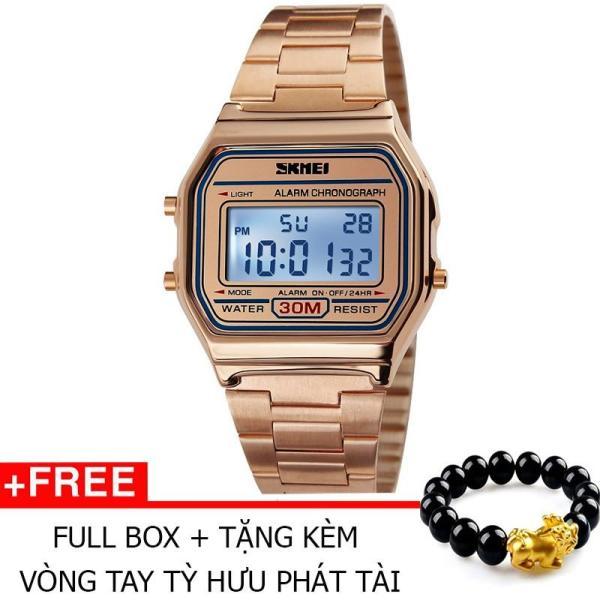 Nơi bán Đồng Hồ Thời Trang Skmei 1123 Dây Innox 005 (Hồng) + Tặng Kèm Vòng Tay Tỳ Hưu Phát Tài