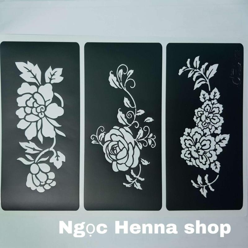 Bộ 3 khuân vẽ Henna hình hoa hồng cao cấp