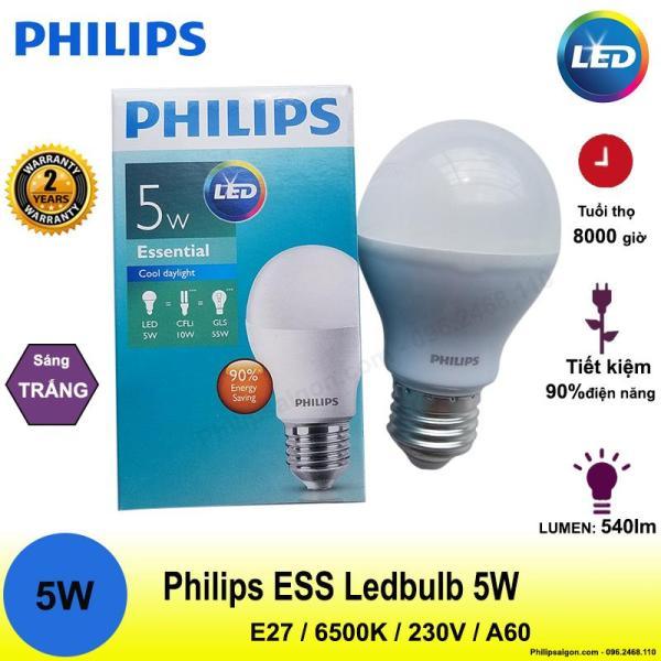 Bóng đèn Philips Ess Ledbulb 5W E27 6500K 230V A60 Ánh sáng( trắng)