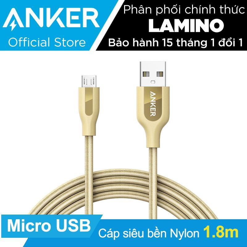 Bán Cap Sieu Bền Nylon Anker Powerline Micro Usb Dai 1 8M Vàng Đòng Co Bao Da Hang Phan Phối Chinh Thức Anker Trong Hồ Chí Minh