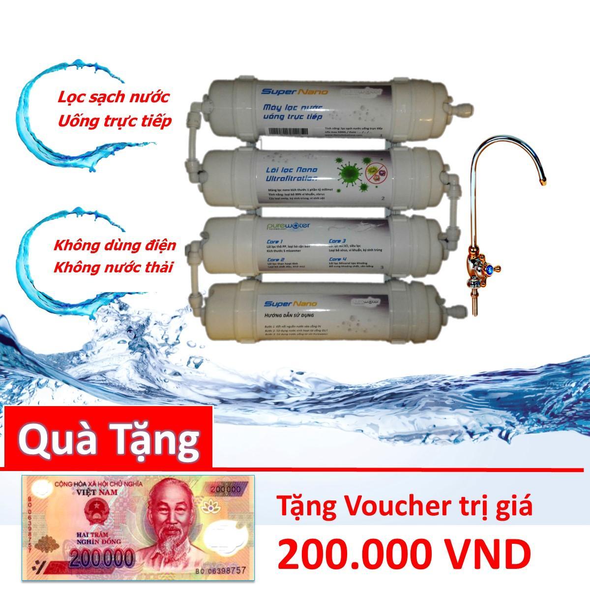 Hình ảnh Máy lọc nước Nano Uống trực tiếp 4 Cấp lọc không dùng điện nước thải - Tặng Voucher 200K