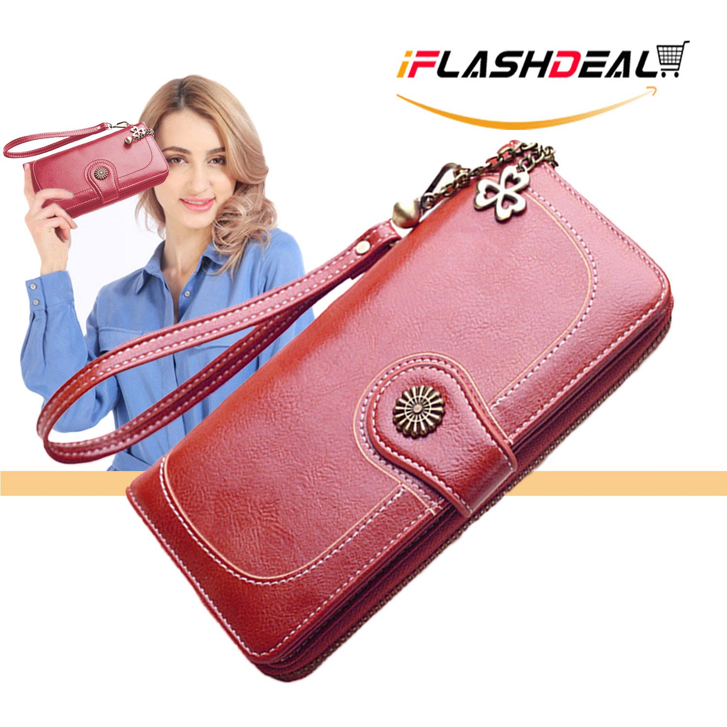 65c75eb525a iFlashDeal Women Long Wallet Purse Card Holder PU Leather ladies wallet  Clutch Zipper Female Money Bag