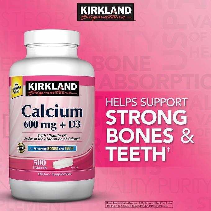 Viên uống bổ sung Canxi Kirkland Calcium 600mg + D3 - hộp 500 viên