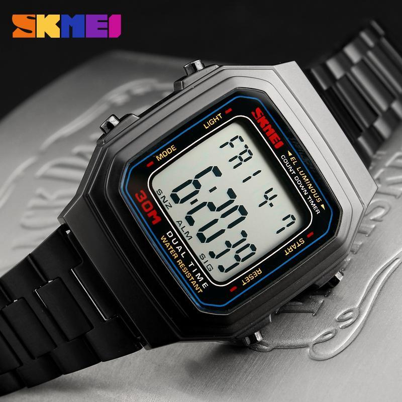 SKMEI 1337 Men Fashion Outdoor Sport Duble Time Luxury Digital Watch CutdownWatch Alloy Strap 12/