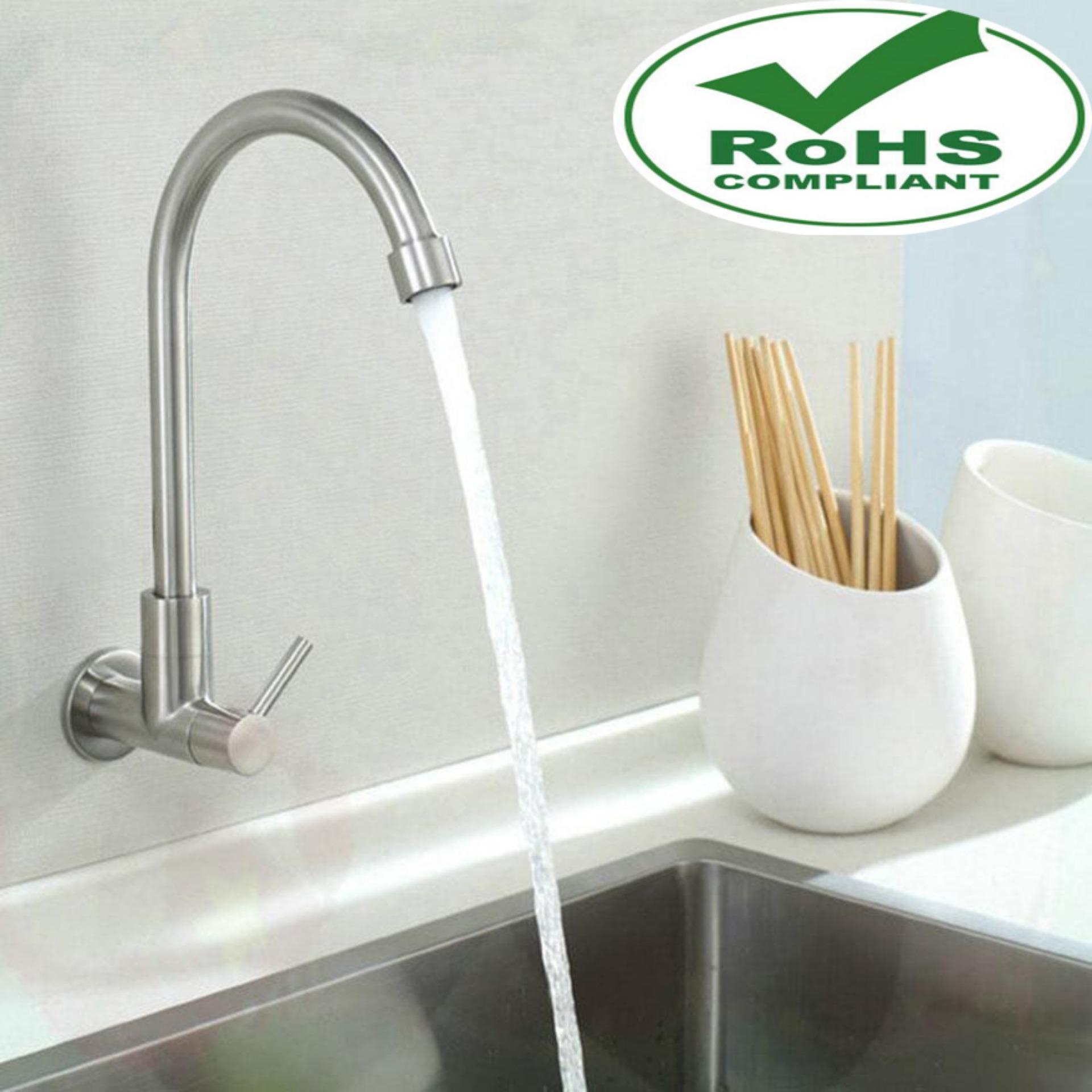 Hình ảnh Vòi rửa chén lạnh âm tường Inox SUS 304 (Xước mờ) 6001