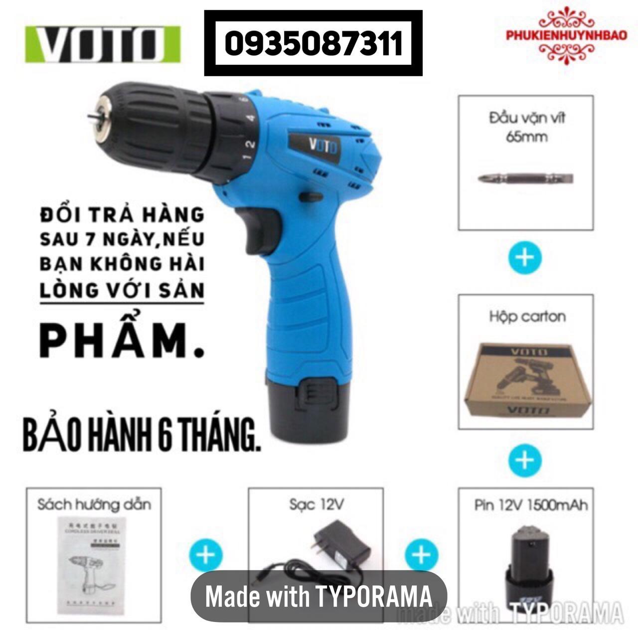 Máy Khoan Pin 12V VOTO,1 Pin,Bảo Hành 6 Tháng.
